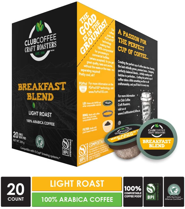 Club Coffee - Breakfast Supreme Overwrap 20ct - COMPOSTABLE PODS