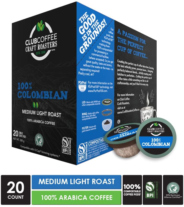 Club Coffee - 100% Colombian Overwrap 20ct - COMPOSTABLE PODS