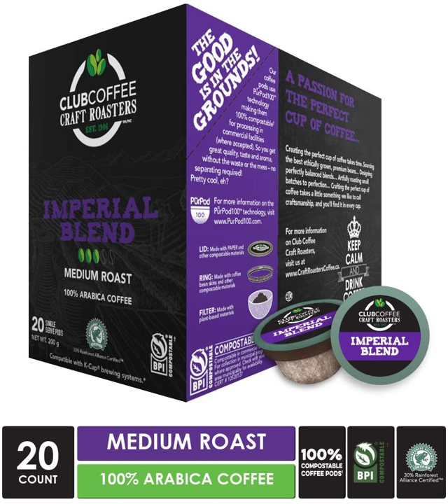 Club Coffee - Imperial Blend Overwrap 20ct - COMPOSTABLE PODS