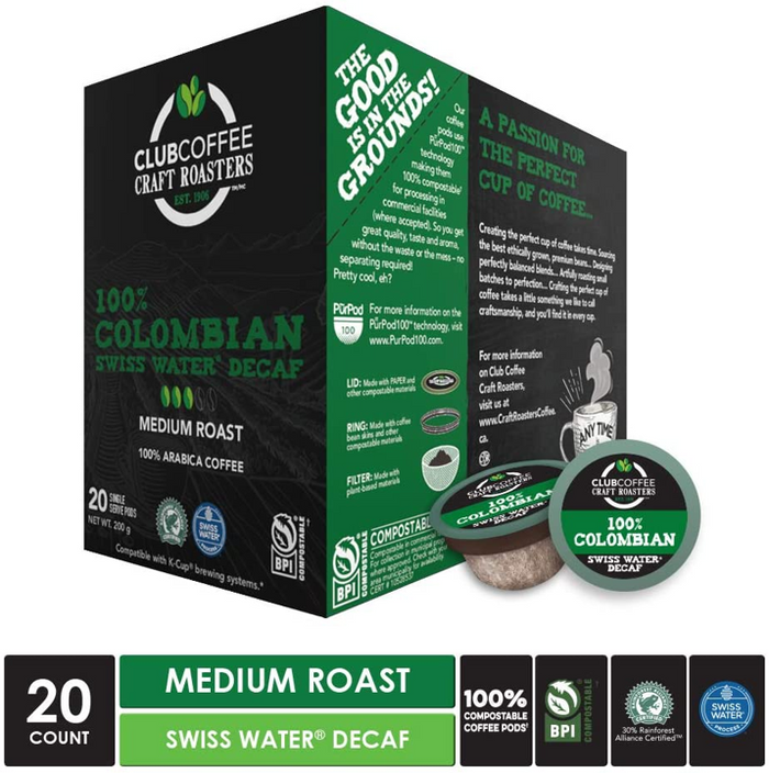 Club Coffee - 100% Colombian Swiss Water® Process Decaf Overwrap 20ct - COMPOSTABLE PODS
