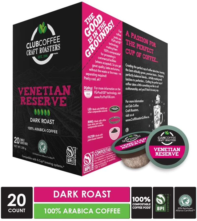 Club Coffee - Venetian Reserve Overwrap 20ct - COMPOSTABLE PODS