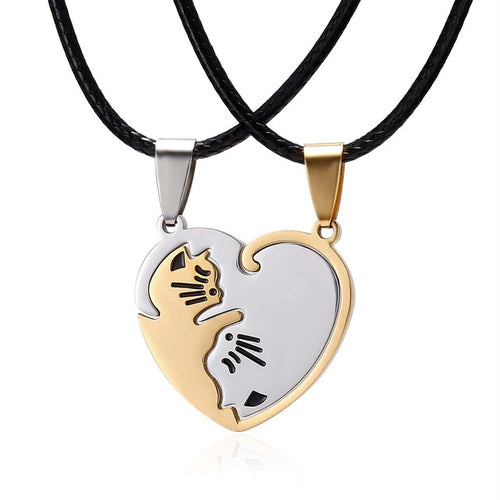 Golden Ying Yang Cat Necklace