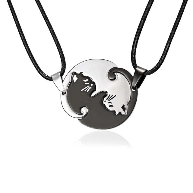 Black Cat Ying Yang Necklace