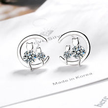 Load image into Gallery viewer, 925 Sterling Silver Cat Earrings
