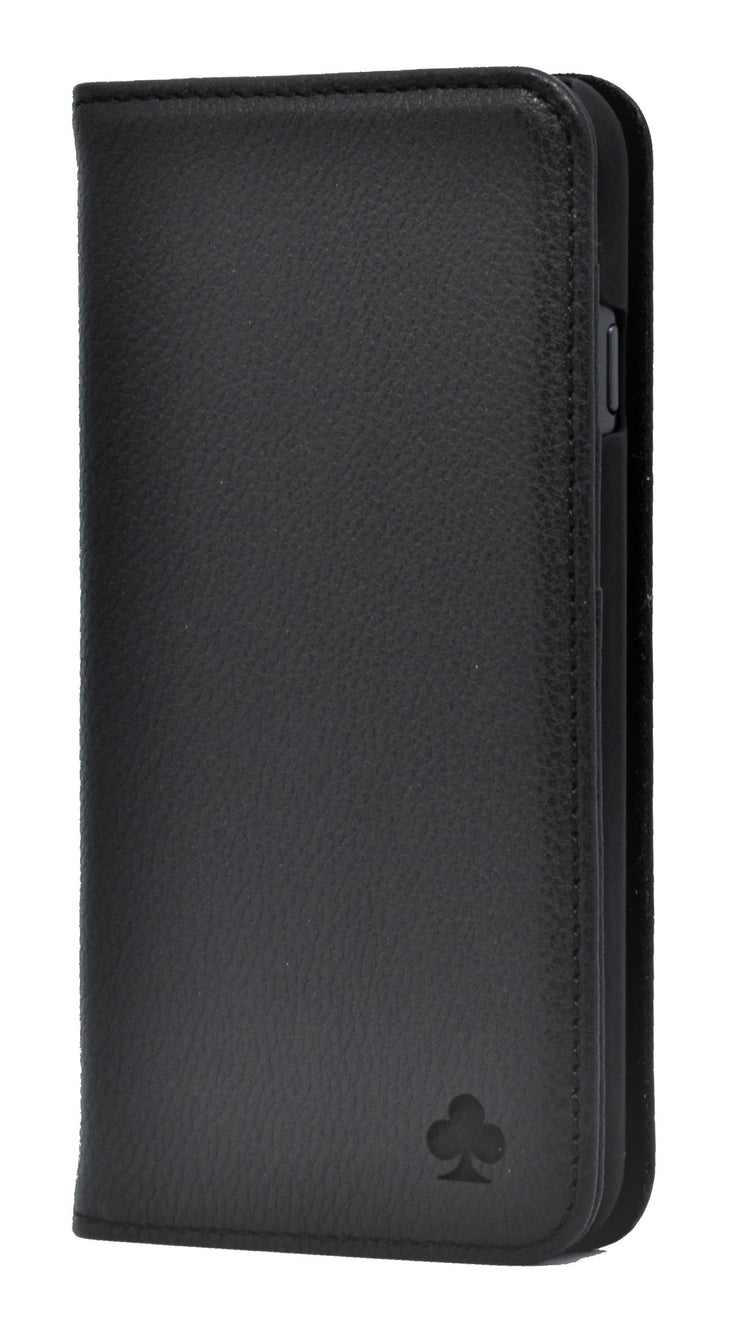 iPhone 12 Pro Max Leather Case. Premium Slim Genuine Leather Stand Case/Cover/Wallet (Black)
