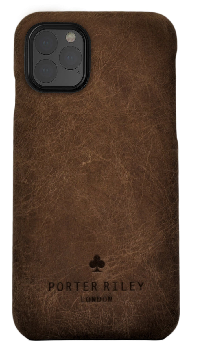 iPhone 12 Pro Leather Case. Premium Slimline Back Genuine Leather Case (Chocolate Brown)