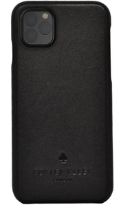iPhone 12 Pro Max Leather Case. Premium Slimline Back Genuine Leather Case (Pure Black)