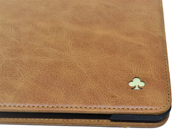iPad Mini 5 Leather Case. Premium Slim Genuine Leather Stand Case/Cover/Wallet (Tan)