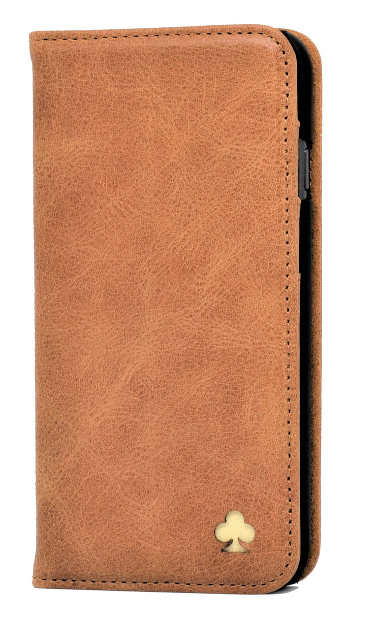 iPhone 12 Pro Max Leather Case. Premium Slim Genuine Leather Stand Case/Cover/Wallet (Tan)