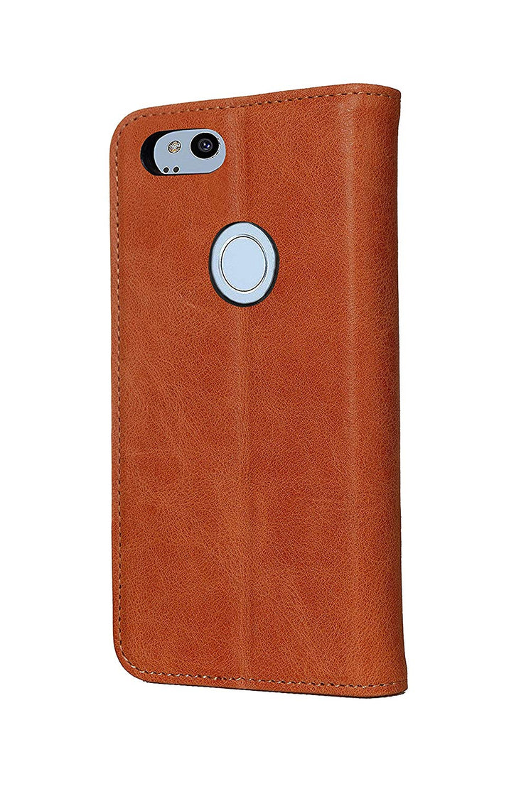 Google Pixel 2 XL Leather Case. Premium Slim Genuine Leather Stand Case/Cover/Wallet (Tan)