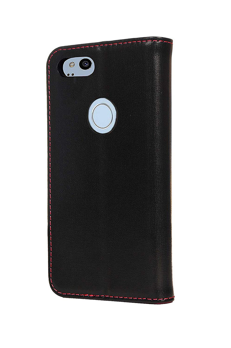 Google Pixel 2 XL Leather Case. Premium Slim Genuine Leather Stand Case/Cover/Wallet (Black)