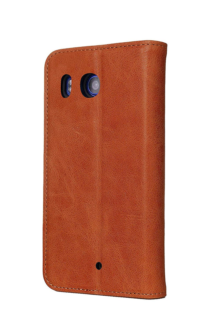HTC U11 Leather Case. Premium Slim Genuine Leather Stand Case/Cover/Wallet (Tan)