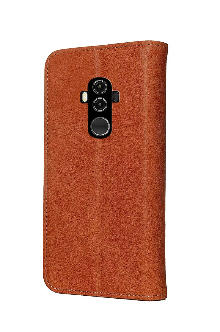 Huawei Mate 10 Pro Leather Case. Premium Slim Genuine Leather Stand Case/Cover/Wallet (Tan)