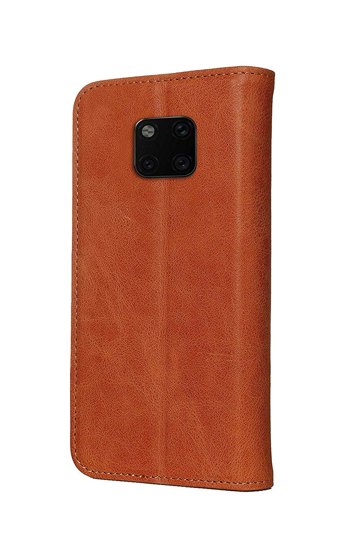 Huawei Mate 20 Pro Leather Case. Premium Slim Genuine Leather Stand Case/Cover/Wallet (Tan)