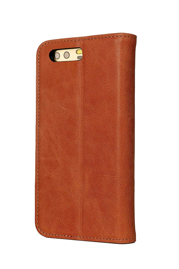 Huawei P10 Leather Case. Premium Slim Genuine Leather Stand Case/Cover/Wallet (Tan)