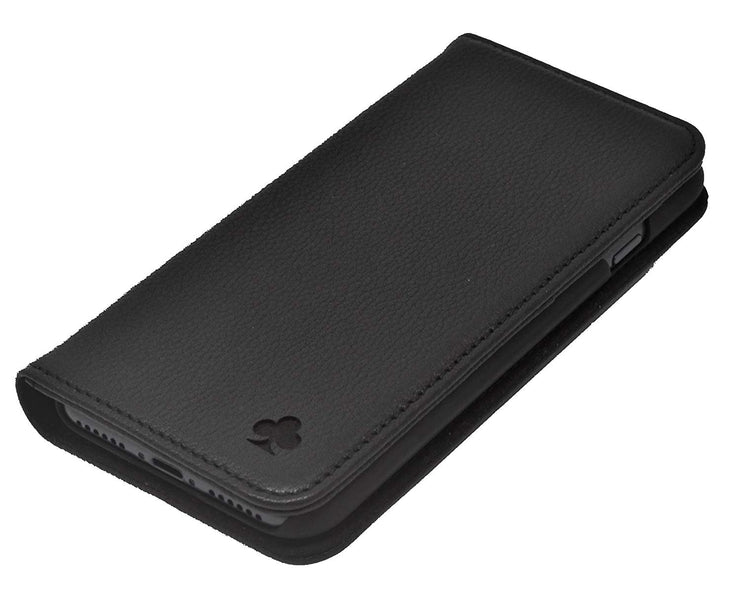 Huawei P20 Leather Case. Premium Slim Genuine Leather Stand Case/Cover/Wallet (Pure Black)