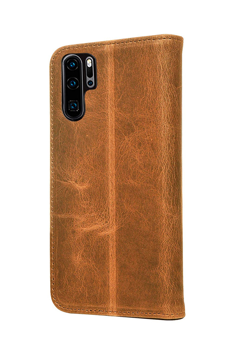 Huawei P30 Pro Leather Case. Premium Slim Genuine Leather Stand Case/Cover/Wallet (Tan)
