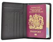 Premium Leather Passport Holder/Case/Cover/Travel Wallet (Black)
