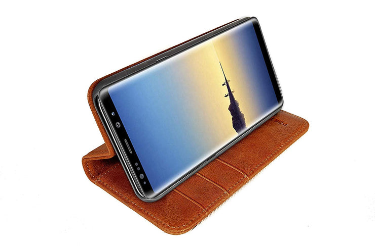 Samsung Galaxy Note 9 Leather Case. Premium Slim Genuine Leather Stand Case/Cover/Wallet (Tan)