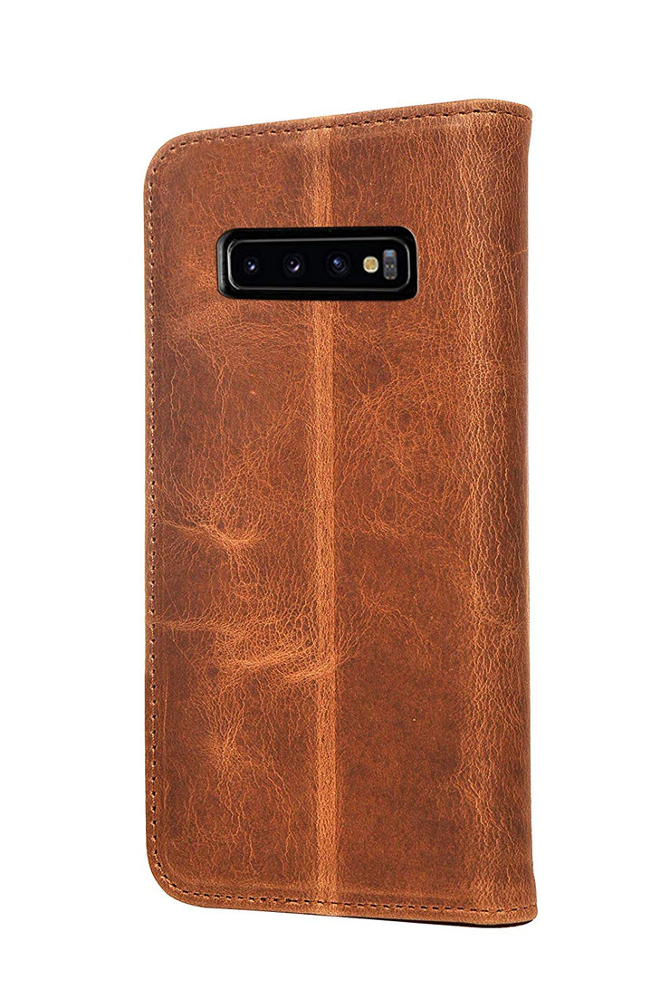 Samsung Galaxy S10 Leather Case. Premium Slim Genuine Leather Stand Case/Cover/Wallet (Tan)