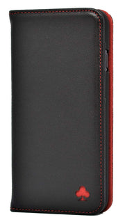 Samsung Galaxy S7 Leather Case. Premium Slim Genuine Leather Stand Case/Cover/Wallet (Black & Red)
