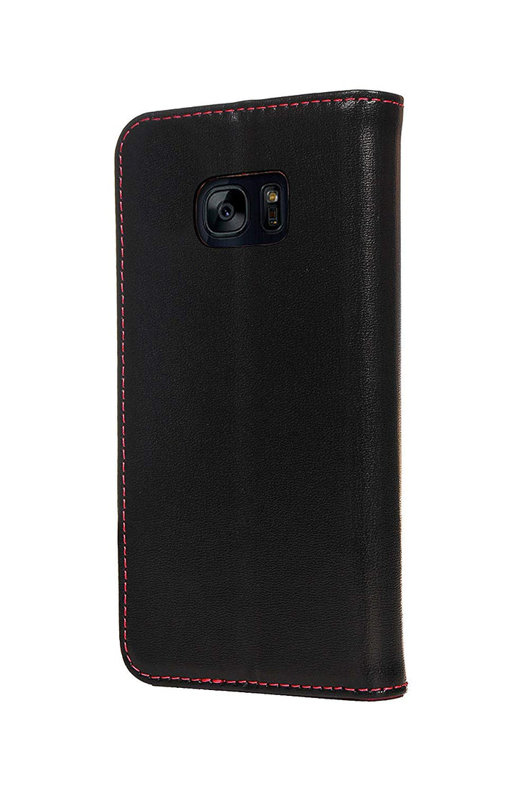 Samsung Galaxy S7 Edge Leather Case. Premium Slim Genuine Leather Stand Case/Cover/Wallet (Black & Red)