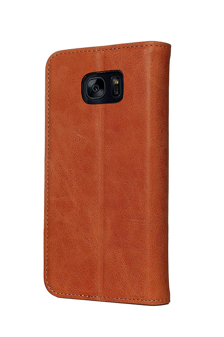 Samsung Galaxy S7 Edge Leather Case. Premium Slim Genuine Leather Stand Case/Cover/Wallet (Tan)