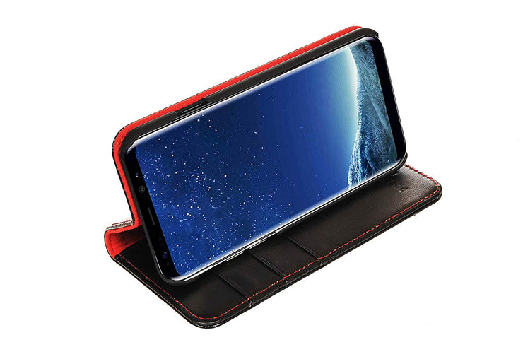 Samsung Galaxy S8 Plus Leather Case. Premium Slim Genuine Leather Stand Case/Cover/Wallet (Black & Red)