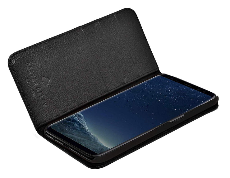 Samsung Galaxy S9 Leather Case. Premium Slim Genuine Leather Stand Case/Cover/Wallet (Pure Black)