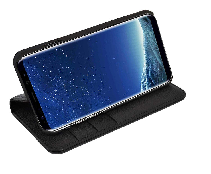 Samsung Galaxy S9 Plus Leather Case. Premium Slim Genuine Leather Stand Case/Cover/Wallet (Pure Black)