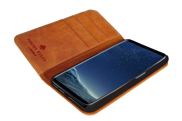 Samsung Galaxy S9 Plus Leather Case. Premium Slim Genuine Leather Stand Case/Cover/Wallet (Tan)
