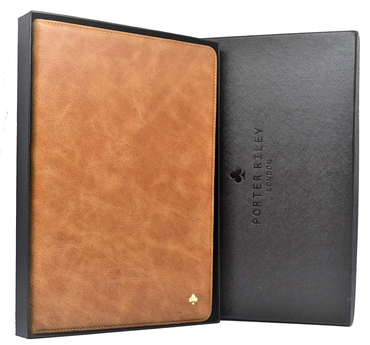 iPad Mini 4 Leather Case. Premium Slim Genuine Leather Stand Case/Cover/Wallet (Tan)