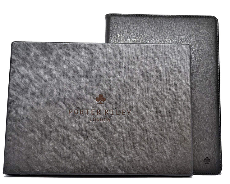 "Porter Riley - Leather Case for iPad 9.7"" 2017/2018 5th and 6th Generation. Premium Genuine Leather Stand/Cover/Flip Case (Pure Black)"