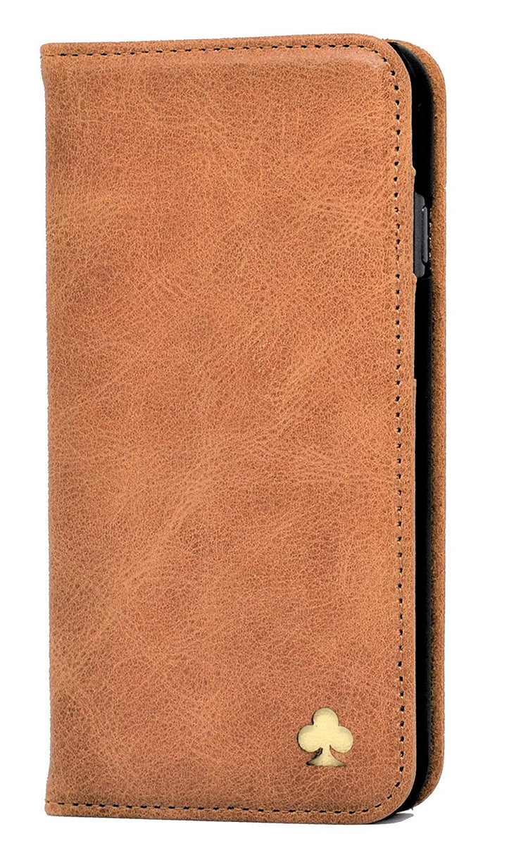 iPhone 11 Leather Case. Premium Slim Genuine Leather Stand Case/Cover/Wallet (Tan)