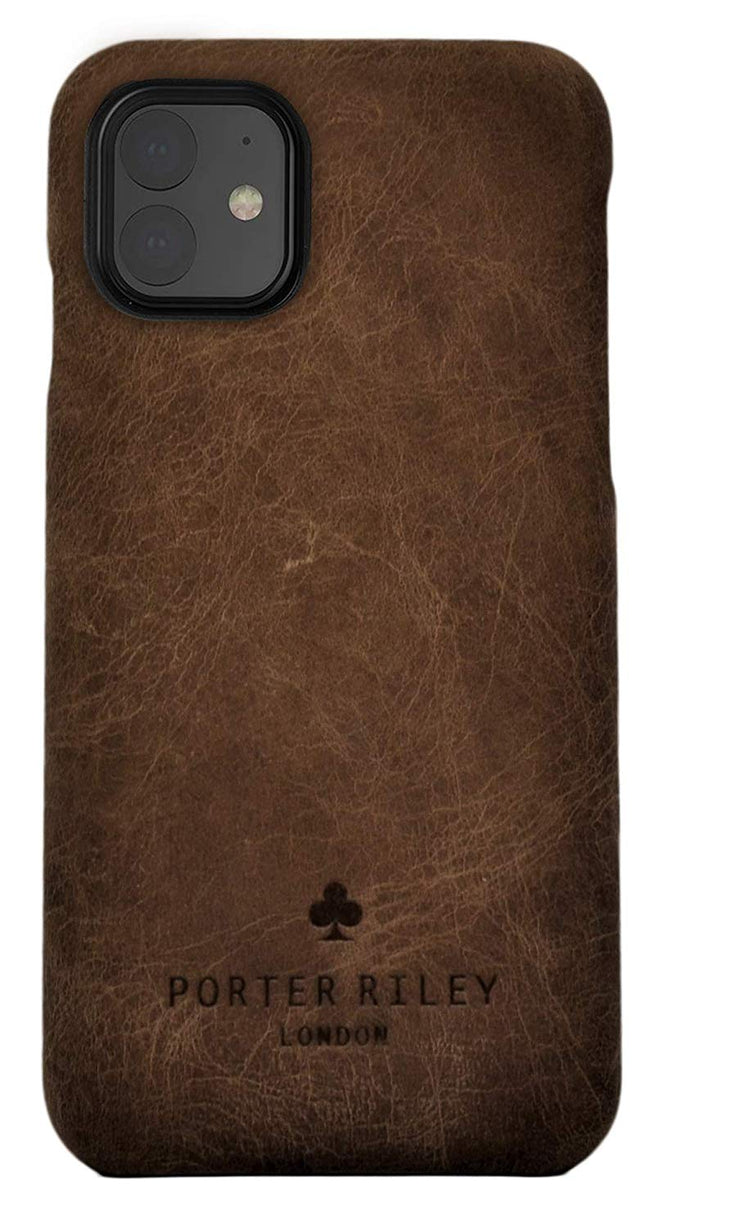 iPhone 11 Leather Case. Premium Slimline Back Genuine Leather Case (Chocolate Brown)