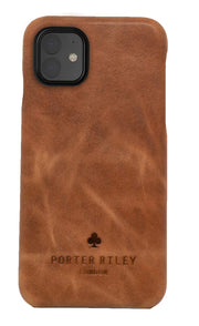 iPhone 11 Leather Case. Premium Slimline Back Genuine Leather Case (Tan)
