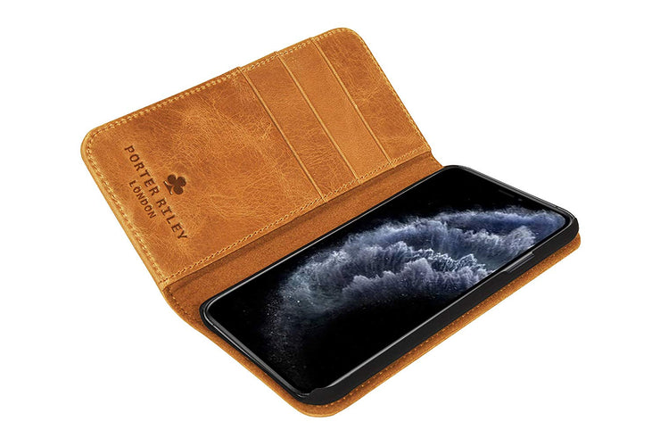 iPhone 11 Pro Leather Case. Premium Slim Genuine Leather Stand Case/Cover/Wallet (Tan)
