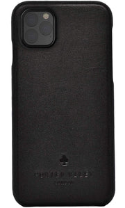 iPhone 11 Pro Leather Case. Premium Slimline Back Genuine Leather Case (Pure Black)