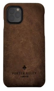 iPhone 11 Pro Leather Case. Premium Slimline Back Genuine Leather Case (Chocolate Brown)