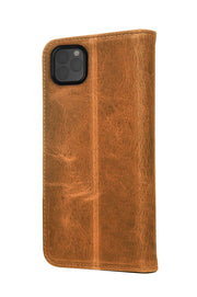 iPhone 11 Pro Max Leather Case. Premium Slim Genuine Leather Stand Case/Cover/Wallet (Tan)