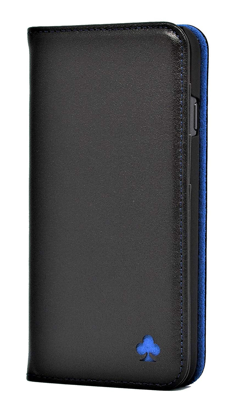 iPhone 6 / 6S Leather Case. Premium Slim Genuine Leather Stand Case/Cover/Wallet (Black & Blue)