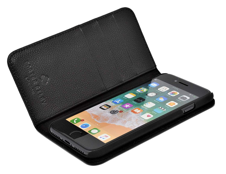 iPhone 6 / 6S Leather Case. Premium Slim Genuine Leather Stand Case/Cover/Wallet (Pure Black)