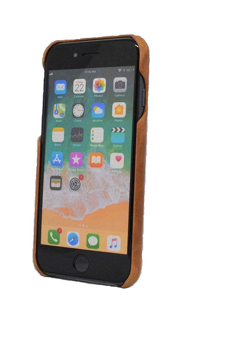 iPhone 6 / 6S Leather Case. Premium Slimline Back Genuine Leather Case (Tan)