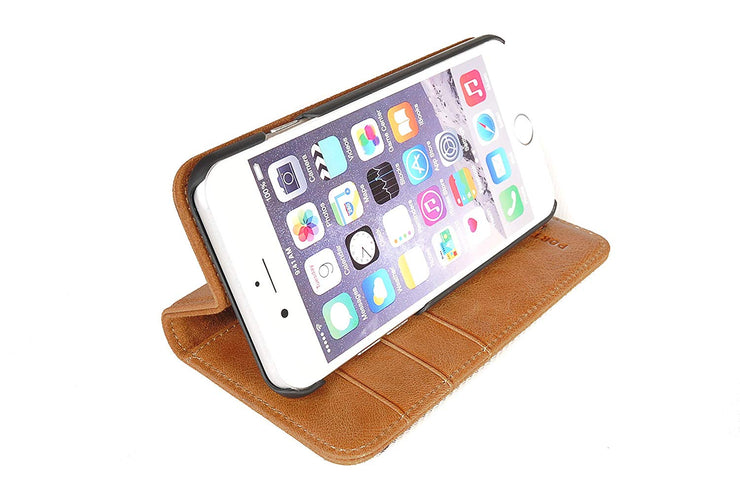 iPhone 6 Plus / 6S Plus Leather Case. Premium Slim Genuine Leather Stand Case/Cover/Wallet (Tan)