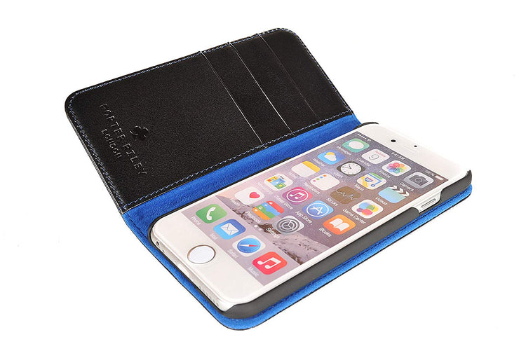 iPhone SE 2020 & iPhone 7 / 8 Leather Case. Premium Slim Genuine Leather Stand Case/Cover/Wallet (Black & Blue)