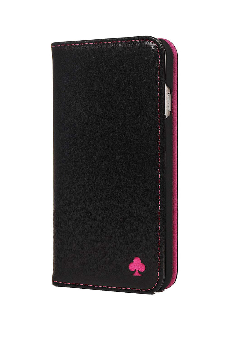 iPhone SE 2020 & iPhone 7 / 8 Leather Case. Premium Slim Genuine Leather Stand Case/Cover/Wallet (Black & Pink)