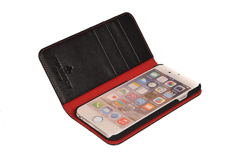 iPhone SE 2020 & iPhone 7 / 8 Leather Case. Premium Slim Genuine Leather Stand Case/Cover/Wallet (Black & Red)