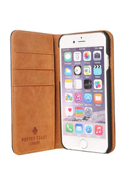 iPhone SE 2020 & iPhone 7 / 8 Leather Case. Premium Slim Genuine Leather Stand Case/Cover/Wallet (Black & Tan)