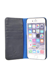 iPhone SE 2020 & iPhone 7 / 8 Leather Case. Premium Slim Genuine Leather Stand Case/Cover/Wallet (Navy & Blue)