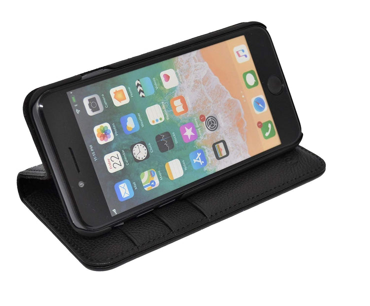 iPhone 7 Plus / 8 Plus Leather Case. Premium Slim Genuine Leather Stand Case/Cover/Wallet (Black)